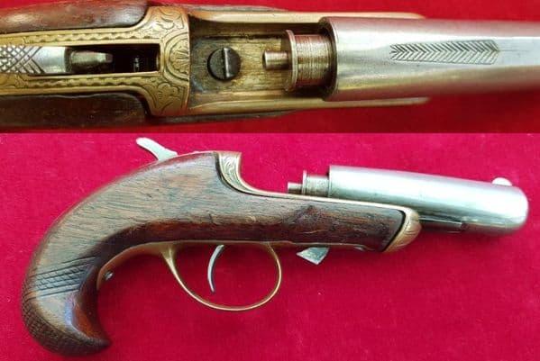 X X X SOLD X X X 19th Century single shot Derringer pistol made by WILLIAMSON. Ref 1825.